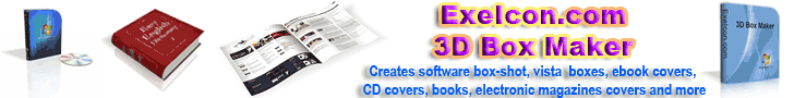Exeicon.com 3D Box Maker creates software box-shot, vista  boxes, ebook covers, CD covers, books, electronic magazines covers and more.